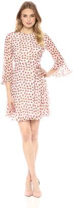 Donna Morgan Women's Long Bell Sleeve Printed Chiffon Dress