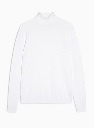 Topman Mens White Turtle Neck Knitted Sweater