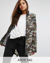 ASOS Tall ASOS TALL Pac a Trench in Camo Print