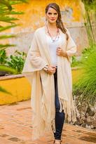 Handwoven Long Ruana Cape in Natural Ivory Cotton, 'Rabinal Ivory'