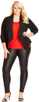 City Chic Plus Size Ruched-Sleeve Open-Front Blazer