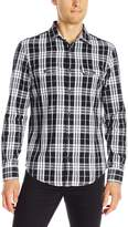 Original Penguin Men's Long Sleeve Slub Plaid Double Cloth Shirt