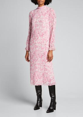 Ganni Pleated Georgette Mock-Neck Midi Dress