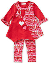 Bonnie Jean Bonnie Baby Girls 12-24 Months Valentine's Heart-Appliqued Sharkbite Top & Heart-Printed Leggings Set