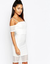 Lipsy Ariana Grande For Off Shoulder Mesh Pencil Dress
