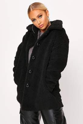I SAW IT FIRST Black Long Button Front Borg Coat