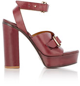 Chloé Women's O-Ring-Strap Leather Platform Sandals-BURGUNDY