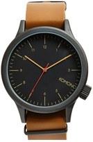 Komono 'Magnus' Oversized Round Dial Leather Strap Watch, 57mm
