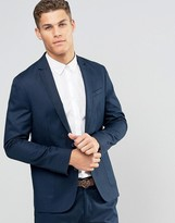Asos Slim Blazer in Navy Washed Cotton