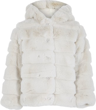 River Island Girls Beige faux fur hood coat