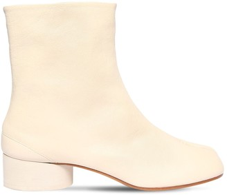 Maison Margiela 30mm Tabi Vintage Leather Ankle Boots