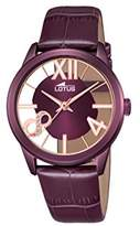 Lotus Women's Quartz Watch with Purple Dial Analogue Display and Purple Leather Strap 18308/1