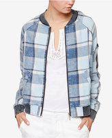 Sanctuary Cotton Plaid Bomber Jacket