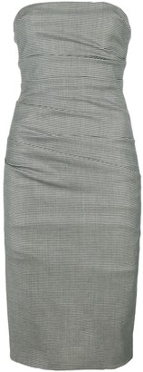 Moschino Pre Owned Strapless Check Fitted Dress