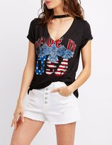 Charlotte Russe Choker Neck Distressed Graphic Tee