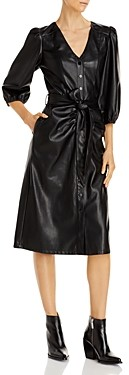 Lucy Paris Belted Faux Leather Midi Dress