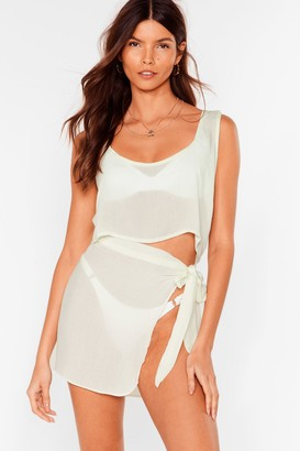 Nasty Gal Womens Beach Please Cover Up Crop Top and Skirt Set - Green - 6