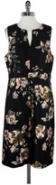 J.Crew J. Crew Collection Black & Pink Floral Print Sleeveless Dress