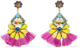 Elizabeth Cole 24-karat gold-plated stone and Swarovski crystal earrings