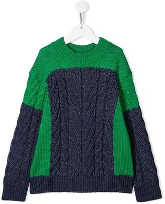 Stella Mccartney Kids Colour Block Cable Knit Jumper