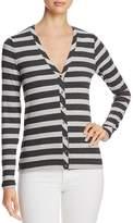 Three Dots Stripe V-Neck Cardigan