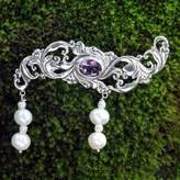Amethyst and Pearl Sterling Silver Brooch Pin, 'Misty Dew'