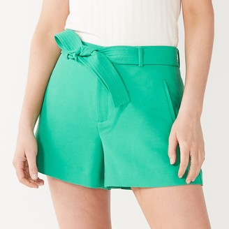 """Nine West Women's Belted Flat Front 4"""" Shorts"""
