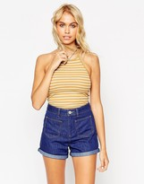 Asos Body with Halter Neck in Stripe Rib With Thong