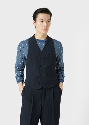 Giorgio Armani Double-Breasted Gilet In Honeycomb Fabric