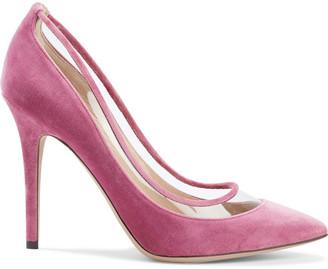 Valentino Bow-embellished Velvet And Pvc Pumps
