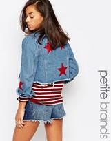 Boohoo Petite Star Applique Denim Jacket