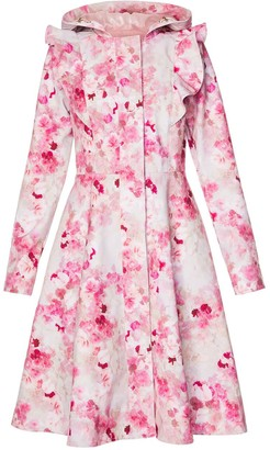 Rainsisters Romantic Pink Floral Waterproof Coat With Shoulder Frills: Sensual Pink