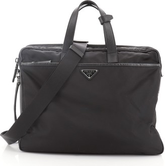 Prada Porta Computer Briefcase Tessuto and Saffiano Leather Medium
