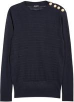 Balmain Navy Distressed Fine-knit Linen Jumper