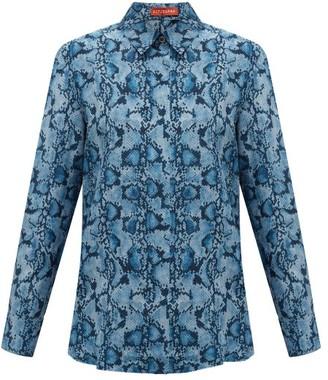 Altuzarra Chika Python-print Silk Blouse - Womens - Blue