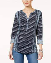 Style&Co. Style & Co Mixed-Print Peasant Top, Only at Macy's