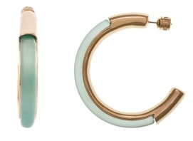 """Christian Siriano New York Medium Gold Tone and Teal Lucite Hoop Earrings 1-1/4"""""""