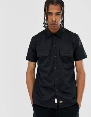 Dickies slim short sleeve work shirt in black