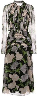 Jason Wu Collection Silk Floral Print Midi Dress