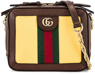 Gucci Ophidia Chain Camera Bag in Easy Yellow & Dark Brown | FWRD