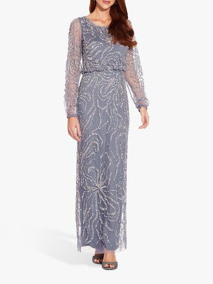 Adrianna Papell Embellished Blouson Top Gown, Cool Wisteria
