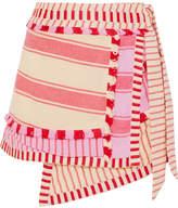 Dodo Bar Or Tasseled Striped Cotton-gauze Wrap Mini Skirt