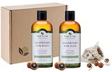 Organic Body Wash & Shampoo Set - 3 pcs - pH Balanced, Moisturizing for Dry, Eczema, Psoriasis, Acne, Flakes, Dandruff Treatment from Wild Soapberry, Natural Soap Nuts - Peppermint - Tree To Tub