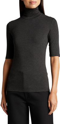 Majestic Filatures Soft Touch Elbow-Sleeve Turtleneck Top