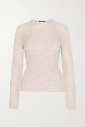 Akris Ribbed Cashmere And Silk-blend Sweater - Beige