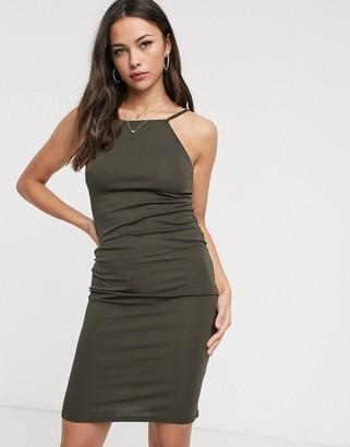 Glamorous square neck bodycon dress in khaki
