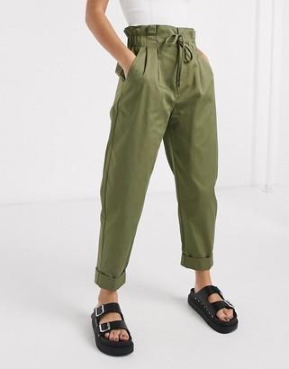 Bershka high waisted balloon trousers in khaki