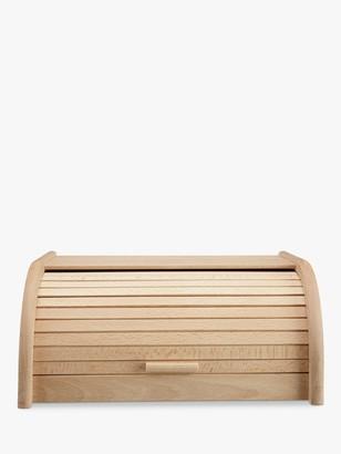 John Lewis & Partners Classic Wood Roll Top Bread Bin, W40cm