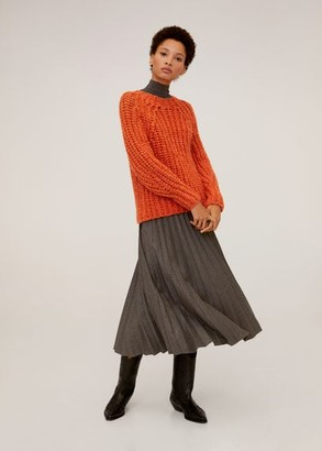 MANGO Chunky-knit sweater orange - S - Women