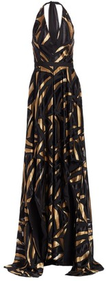 Halston Metallic Abstract Print Handkerchief Print Gown